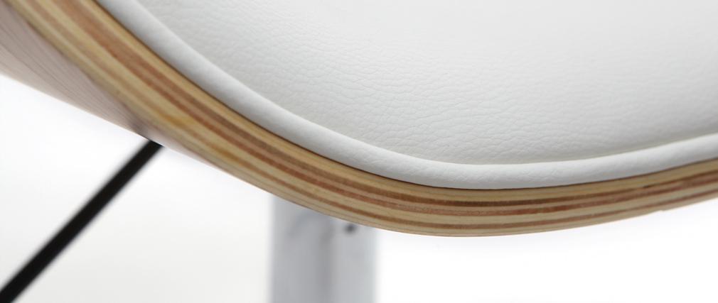 Chaise de bureau design blanc et bois clair WALNUT