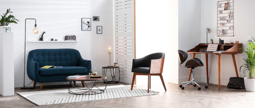 Chaise de bureau design blanc et bois foncé WALNUT