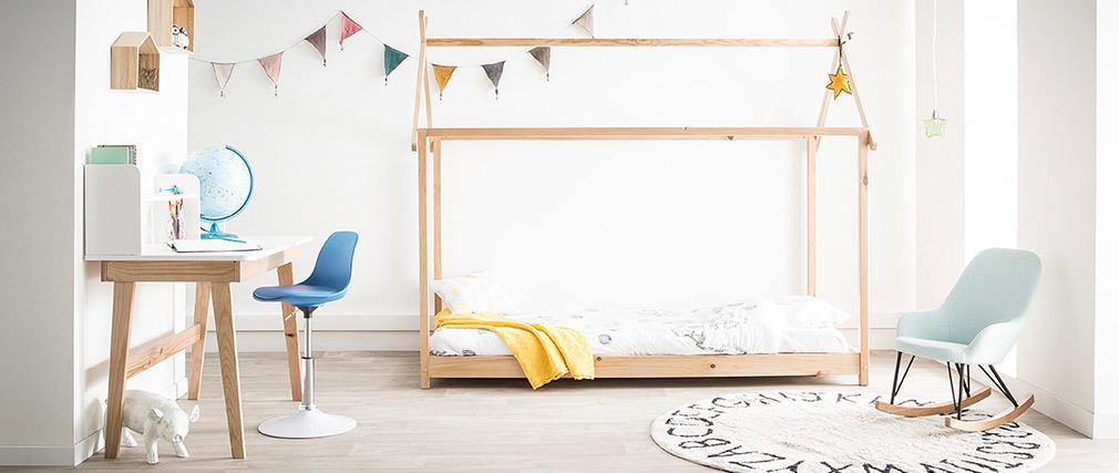 Chaise de bureau design enfant bleue STEEVY