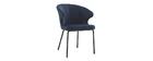 Chaise design en velours bleu foncé REQUIEM