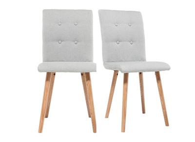Chaise design gris clair et bois lot de deux HORTA