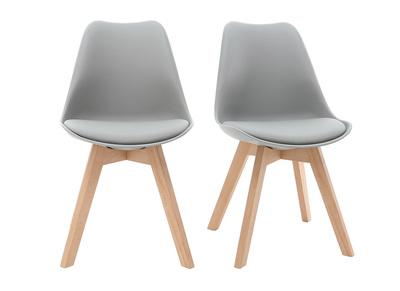 Chaise design gris clair et pieds bois lot de 2 PAULINE