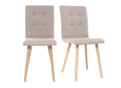 Chaise design naturelle et bois lot de deux HORTA
