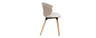 Chaise design taupe et bois clair WING