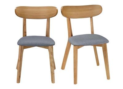 Chaise design vintage grise et pieds bois lot de 2 MARIK