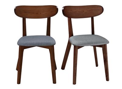 Chaise design vintage grise et pieds noyer lot de 2 MARIK
