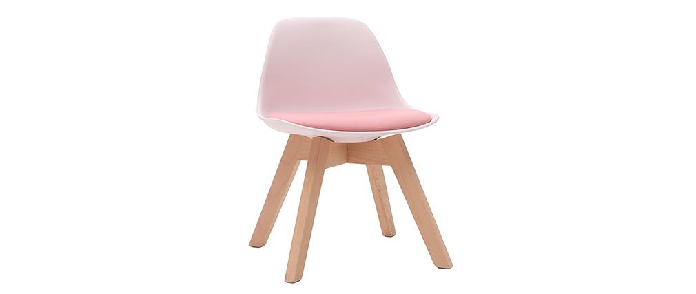 Chaise enfant design rose avec pieds bois BABY PAULINE