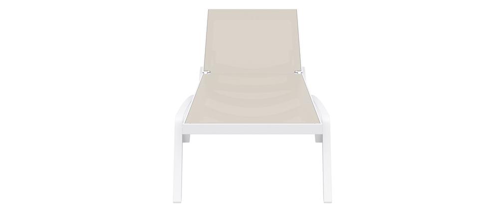 Chaise longue empilable blanc et taupe CORAIL