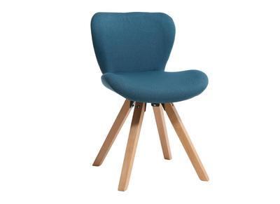 Chaise scandinave tissu bleu petrole pieds bois clair ANYA