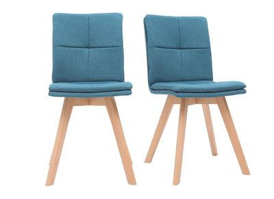 Chaise scandinave tissu bleu pieds bois clair lot de 2 THEA