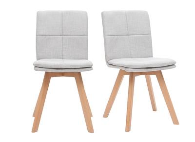 Chaise scandinave tissu gris clair pieds bois clair lot de 2 THEA