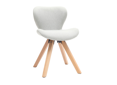 Chaise scandinave tissu gris pieds bois clair ANYA