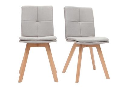 Chaise scandinave tissu naturel pieds bois clair lot de 2 THEA