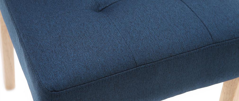 Chaises capitonnées en tissu bleu et bois (lot de 2) ESTER
