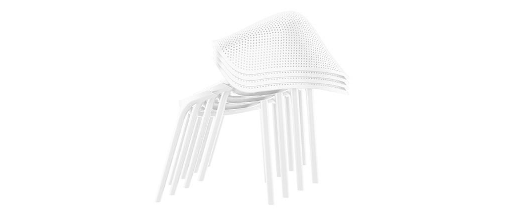 Chaises design blanches intérieur / extérieur (lot de 4) OSKOL