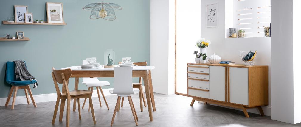 Chaises design bois et blanc (lot de 2) BALTIK