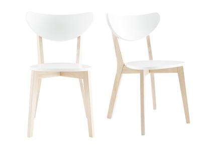 Chaises design bois et blanc LEENA (lot de 2)