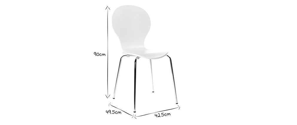 Chaises design empilables blanches (lot de 2) NEW ABIGAIL