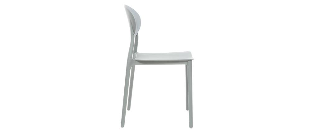 Chaises design empilables grises (lot de 2) ANNA