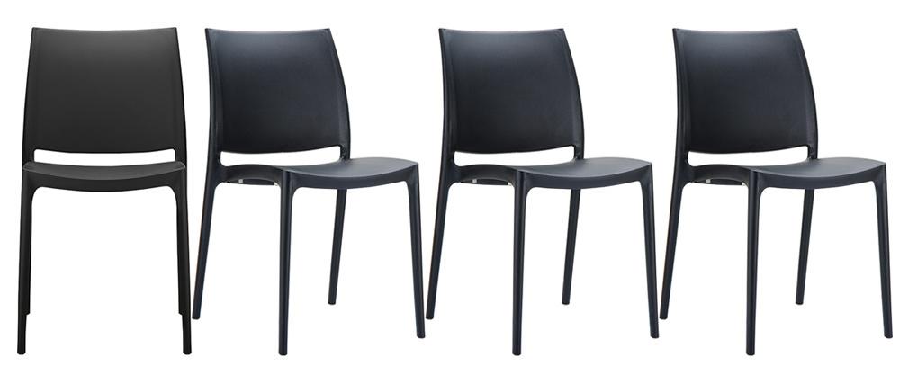 Chaises design empilables noires intérieur / extérieur (lot de 4) CALAO