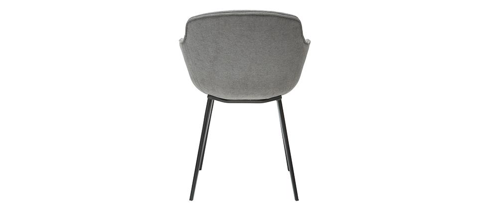 Chaises design en tissu effet velours gris (lot de 2) SAKE