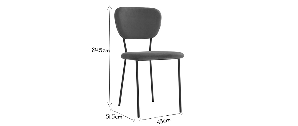 Chaises design en tissu gris et structure en métal noir (lot de 2) LEPIDUS