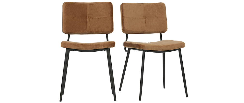 Chaises design en velours camel (lot de 2) GAB