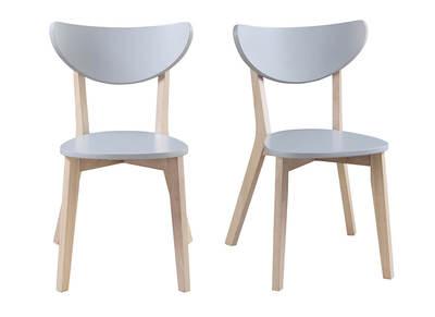 Chaises design gris pieds bois LEENA (lot de 2)