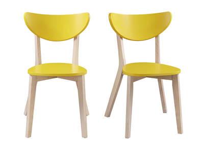 Chaises design jaune  pieds bois LEENA (lot de 2)