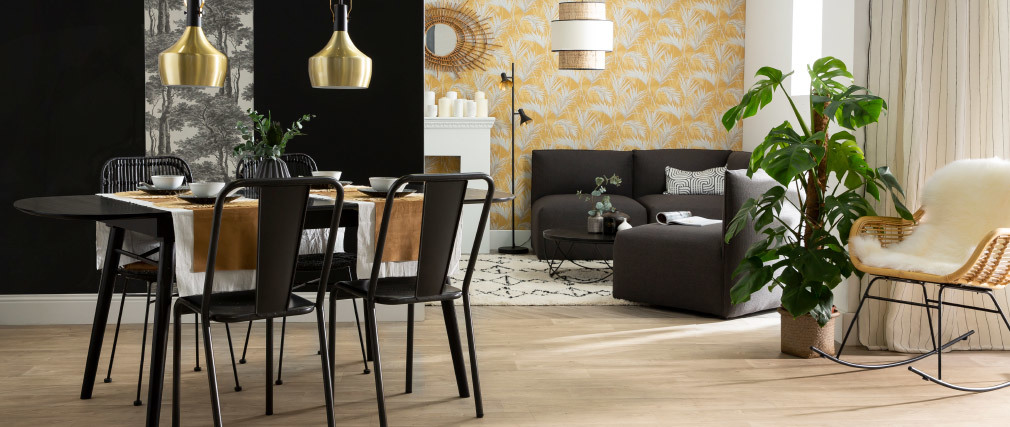 Chaises design métal noir (lot de 2) EVAN