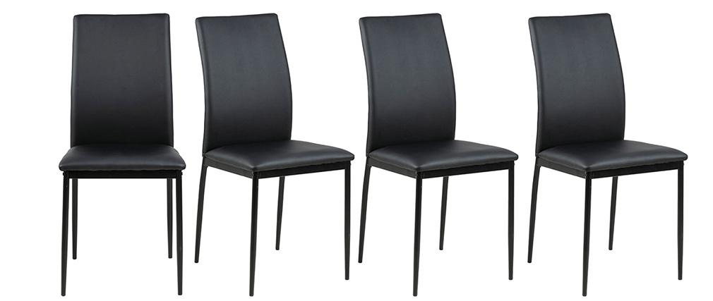 Chaises design noires (lot de 4) LUCKY