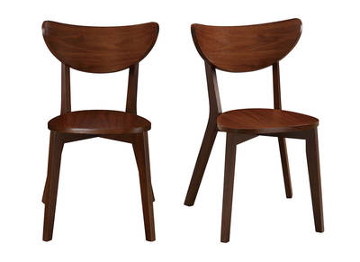 Chaises design noyer LEENA (lot de 2)