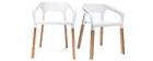 Chaises design scandinave blanches (lot de 2) HELIA