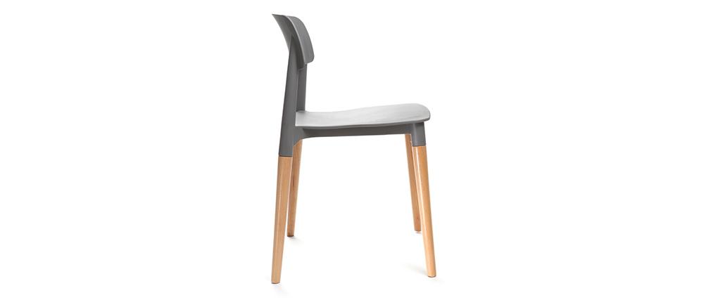 Chaises design scandinave grises (lot de 2) GILDA