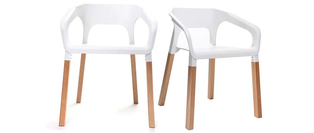 Chaises design scandinaves empilables blanches (lot de 2) HELIA
