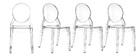 Chaises empilables design médaillon transparente intérieur / extérieur - lot de 4 LOUISON