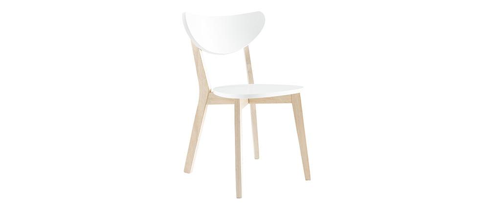 Chaises scandinaves blanc et bois clair (lot de 2) LEENA