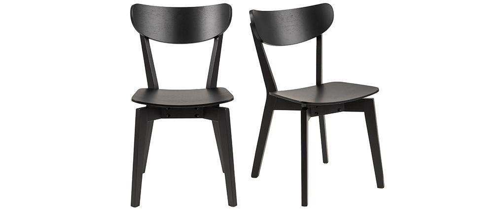 Chaises scandinaves bois noir (lot de 2) BAKI