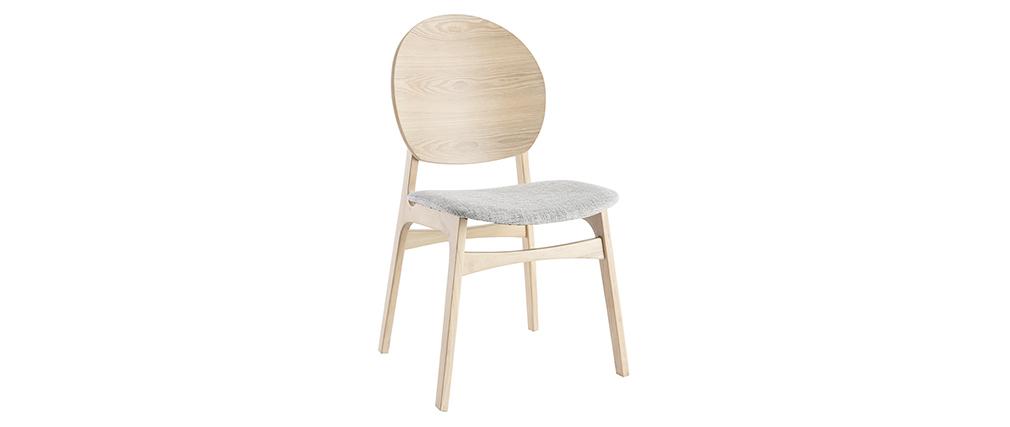 Chaises scandinaves en bois clair et tissu gris (lot de 2) ELTON