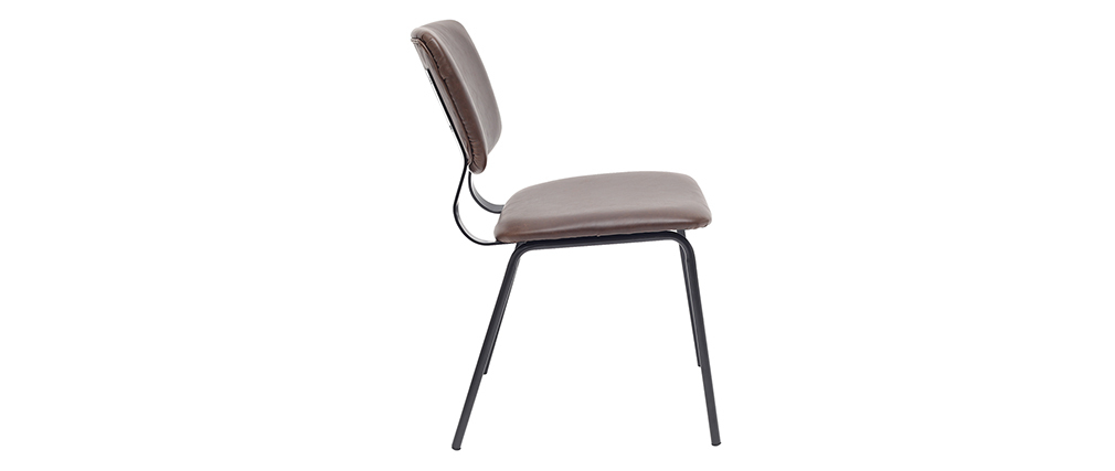 chaises vintage marron foncé avec pieds métal noir (lot de 2) LAB