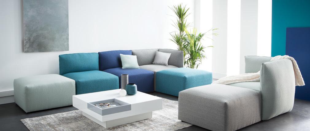 Chauffeuse design tissu bleu canard MODULO