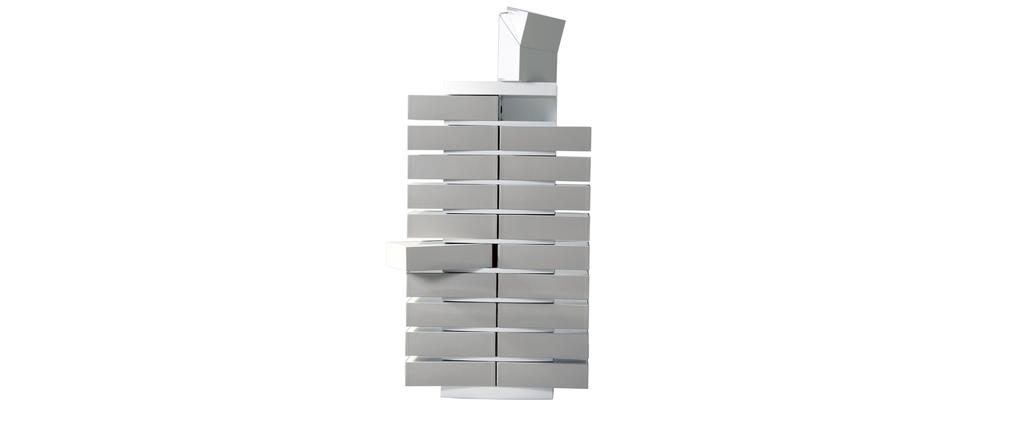 Colonne cartonnier blanc design et ses 20 bo tes de classement gris clair m - Boites archives design ...