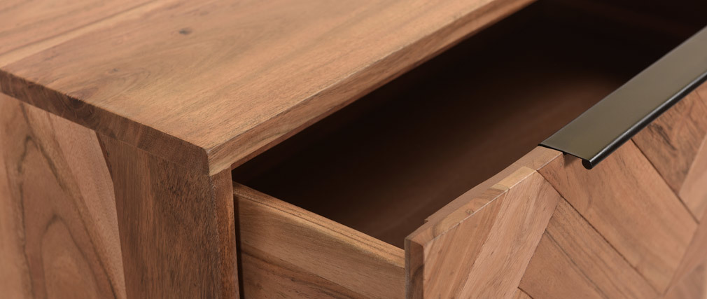 Commode 3 tiroirs en acacia massif et métal noir STICK