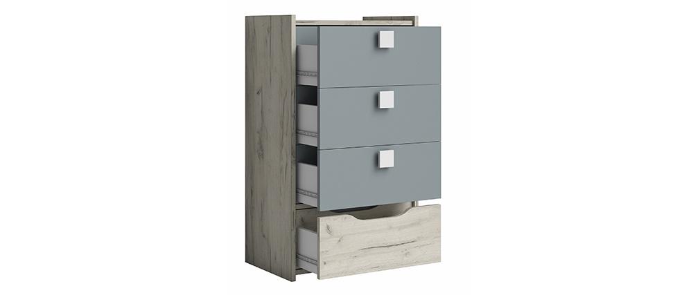 Commode design 4 tiroirs frêne blanc et gris TOM
