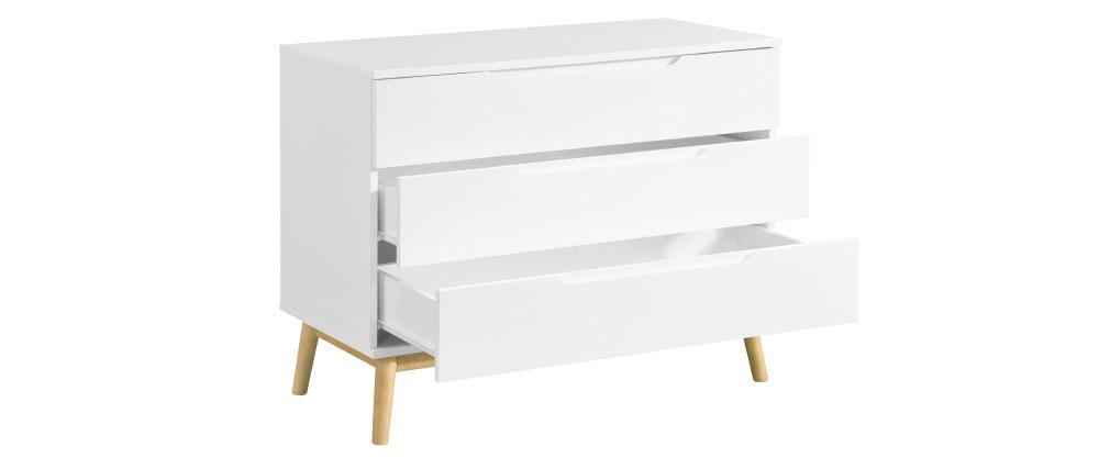 Commode scandinave blanc et bois 3 tiroirs FELIX