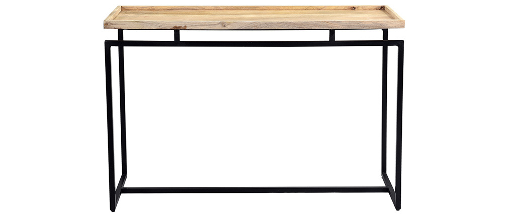 Console en manguier massif et métal noir L110 cm FRAME