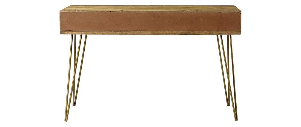 Console gravée en manguier massif et métal doré LINIUM