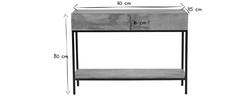 Console industrielle en manguier massif et métal L110 cm YPSTER