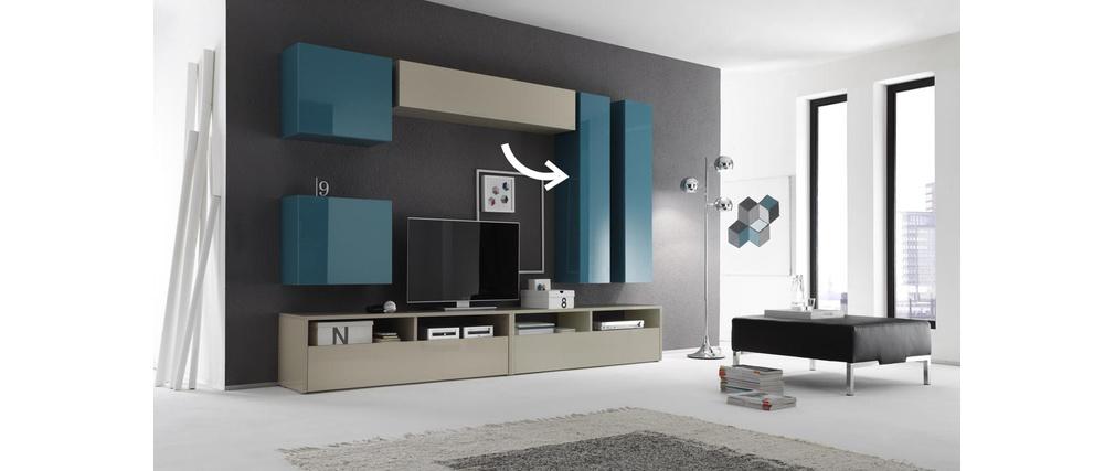 Elément mural TV COLORED horizontal ou vertical Laqué Turquoise