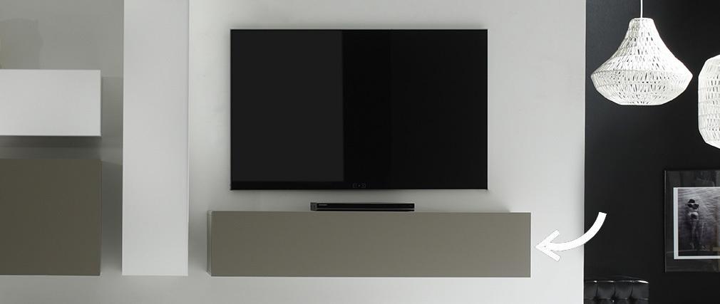 Élément mural TV design taupe mat horizontal COLORED V2